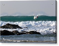 Surfing In Cornwall Acrylic Print by Brian Roscorla