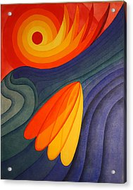 Acrylic Print featuring the painting Surfing Symbolism by Paul Amaranto