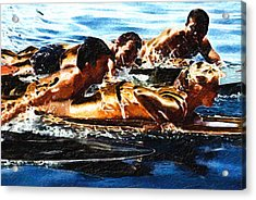 Surfing With The Boys Acrylic Print by Ron Regalado
