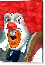 Surprised Clown Acrylic Print by Methune Hively