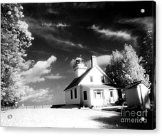 Surreal Black White Infrared Black Sky Lighthouse - Traverse City Michigan Mission Point Lighthouse Acrylic Print by Kathy Fornal