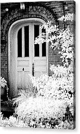 Surreal Black White Infrared Spooky Haunting Door Acrylic Print by Kathy Fornal