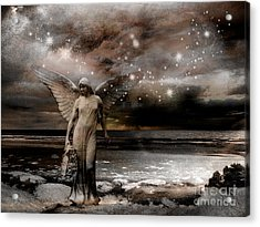 Surreal Fantasy Celestial Angel With Stars Acrylic Print by Kathy Fornal