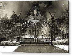 Surreal Gothic Gate And Gargoyles Stormy Haunted Sepia Nightscape Acrylic Print by Kathy Fornal