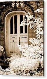 Surreal Gothic Infrared Skulls Over Door Acrylic Print by Kathy Fornal