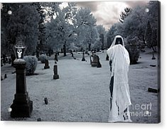 Surreal Gothic Spooky Grim Reaper And Skull Acrylic Print by Kathy Fornal