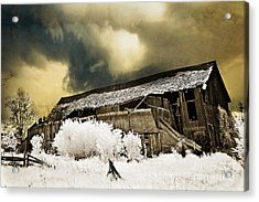 Surreal Infrared Barn Scene With Stormy Sky Acrylic Print by Kathy Fornal