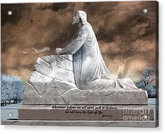Jesus Christian Art  - Jesus Kneeling With Bible Scripture Quote Acrylic Print by Kathy Fornal