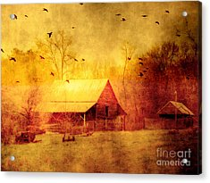Surreal Red Yellow Barn With Ravens Landscape Acrylic Print by Kathy Fornal
