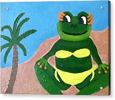 Acrylic Print featuring the painting Susanna At The Beach by Margaret Harmon