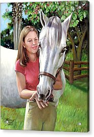 Acrylic Print featuring the painting Suzanne With A White Horse by Nancy Tilles