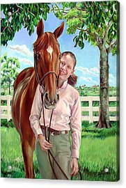 Acrylic Print featuring the painting Suzanne With Her Horse by Nancy Tilles