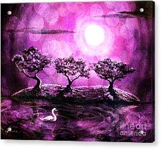 Swan In A Magical Lake Acrylic Print