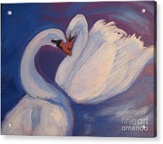 Acrylic Print featuring the painting Swan Kiss by Diana Riukas