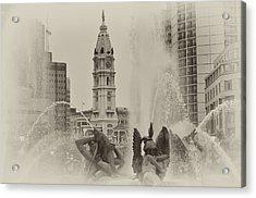 Swann Memorial Fountain In Sepia Acrylic Print by Bill Cannon