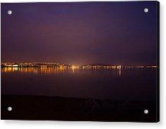 Swansea Bay By Night Acrylic Print by Julie L Hoddinott