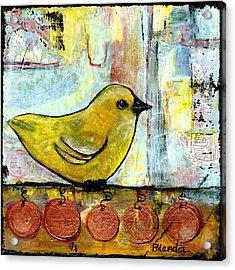 Sweet Green Bird Acrylic Print by Blenda Studio