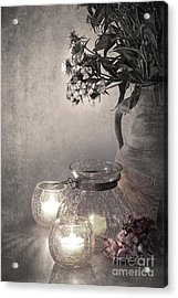 Sweet Williams Sepia Acrylic Print by Jane Rix