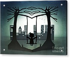 Swing With A City View Acrylic Print by Catherine MacBride