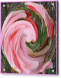 Acrylic Print featuring the painting Swirling Pink Parrot Feather by Richard James Digance