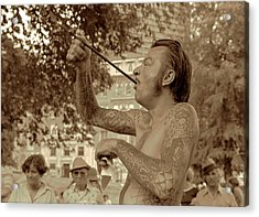 Acrylic Print featuring the photograph Sword Swallower by Tom Wurl