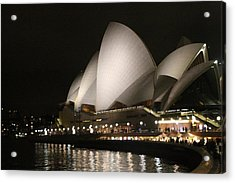 Acrylic Print featuring the photograph Sydney Opera House At Night by Laurel Talabere