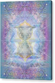 Synthecentered Doublestar Chalice In Blueaurayed Multivortexes On Tapestry Acrylic Print
