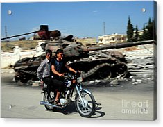 Syrian Men Drive A Motorbike Acrylic Print by Andrew Chittock