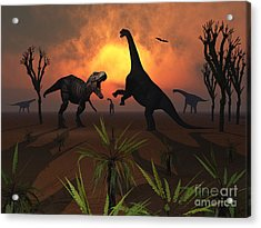 T. Rex Confronts A Group Acrylic Print by Mark Stevenson