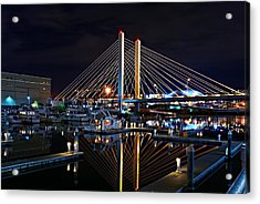 Tacoma Hwy 509 Bridge Up In Lights 1 Acrylic Print