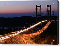 Tacoma Narrows Bridges Flowing Light  Acrylic Print