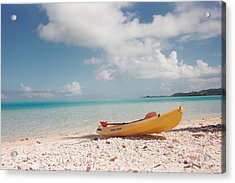 Tahiti Ocean Kayak On Beach Acrylic Print by Mark Norman