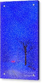 Tail Lights In A Snow Storm Acrylic Print by Lila Fisher-Wenzel