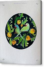 Talkative Parakeets Acrylic Print by Sonali Gangane