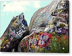 Talking Rocks And Sky Acrylic Print by Susan Leggett