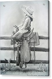Tall In The Saddle Acrylic Print by Rick Mittelstedt