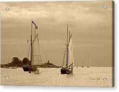 Tall Ships Sailing In Sepia Acrylic Print by Suzanne Gaff