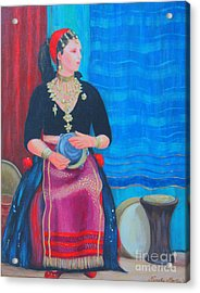 Acrylic Print featuring the painting Tambourine Lady by Nareeta Martin