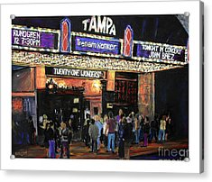 Tampa Theatre Night Lights Acrylic Print by Barry Rothstein
