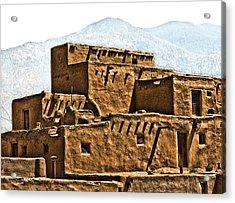 Taos Pueblo Acrylic Print by John Hansen