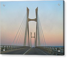 Tarascon-beaucaire Bridge At Dusk Acrylic Print by Michael Grabois