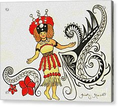 Taupou Samoa Acrylic Print by Kristy Mao