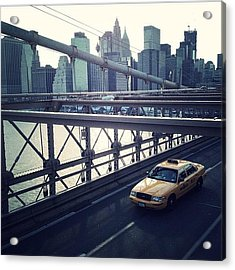Taxi On Bridge Acrylic Print