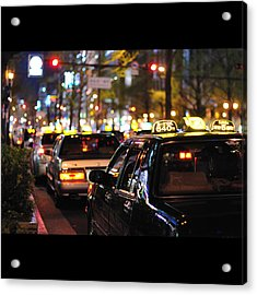 Taxis On Street At Night Acrylic Print by Thank you for choosing my work.