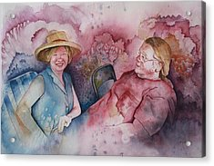 Acrylic Print featuring the painting Taylor And Chuck At The Picnic by Patsy Sharpe