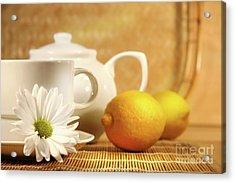 Tea And Lemon Acrylic Print by Sandra Cunningham