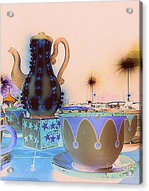 Acrylic Print featuring the photograph Tea Pot And Cups Ride With Inverted Colors by Renee Trenholm