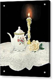 Tea Pot And Rose Acrylic Print