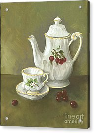 Acrylic Print featuring the painting Tea With Cherries  by Nancy Patterson