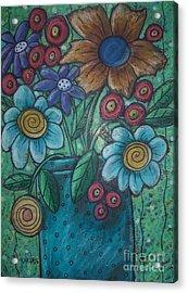Teal Pot Acrylic Print by Karla Gerard